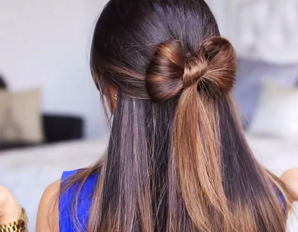 Легкие и красивые прически для длинных волос бантик